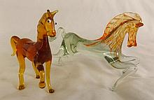 2 Art Glass Horse Figurines