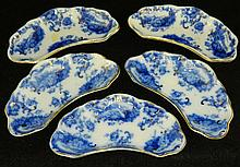 5 Flow Blue Bone Dishes