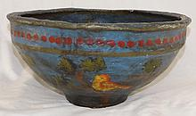 Hand Painted Bird Scene Papier Mache Bowl