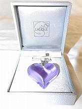 Lalique Purple Art Glass Heart Pendant Necklace
