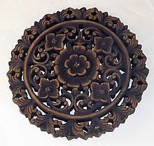 Carved Wooden Trivet with Floral Design