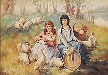 Artist Signed Oil on Canvas, Women and Ducks