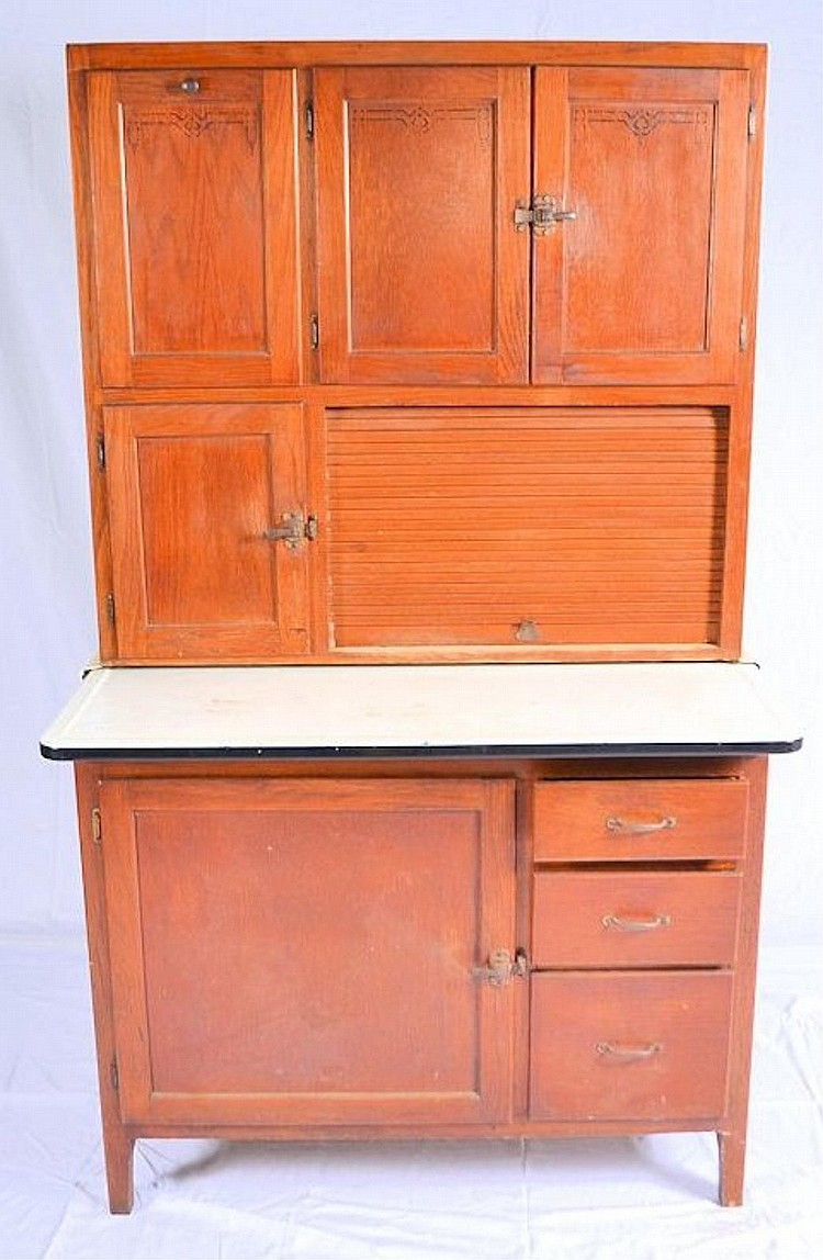 Enamel top kitchen cabinet for Auctions kitchen cabinets