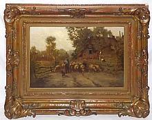 P. Haaksma Oil on Canvas of Sheep & Shepherd