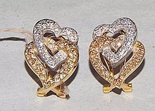 18 kt. Gold and Diamond Heart Earrings
