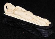 Ivory Carved Nude Woman on Wooden Base