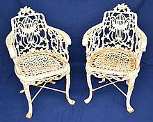 Pair of Cast Iron White Patio Chairs