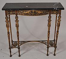 Manner of Oscar Bach bronze hall table and mirror