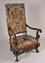 Carved Arm Chair with Tapestry Upholstery