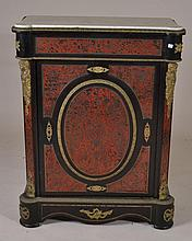Ornate Marble Top Cabinet w/ Metal Inlay & Mounts