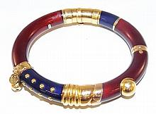 18 kt Gold & Sterling Enamel Bangle Bracelet