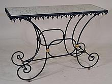 Wrought Iron & Marble Top Hall Table
