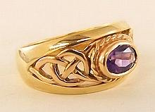 10K Gold Ring with Amethyst