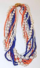 Multi Strand Necklace w/Blue Lapis, Pearl & Coral