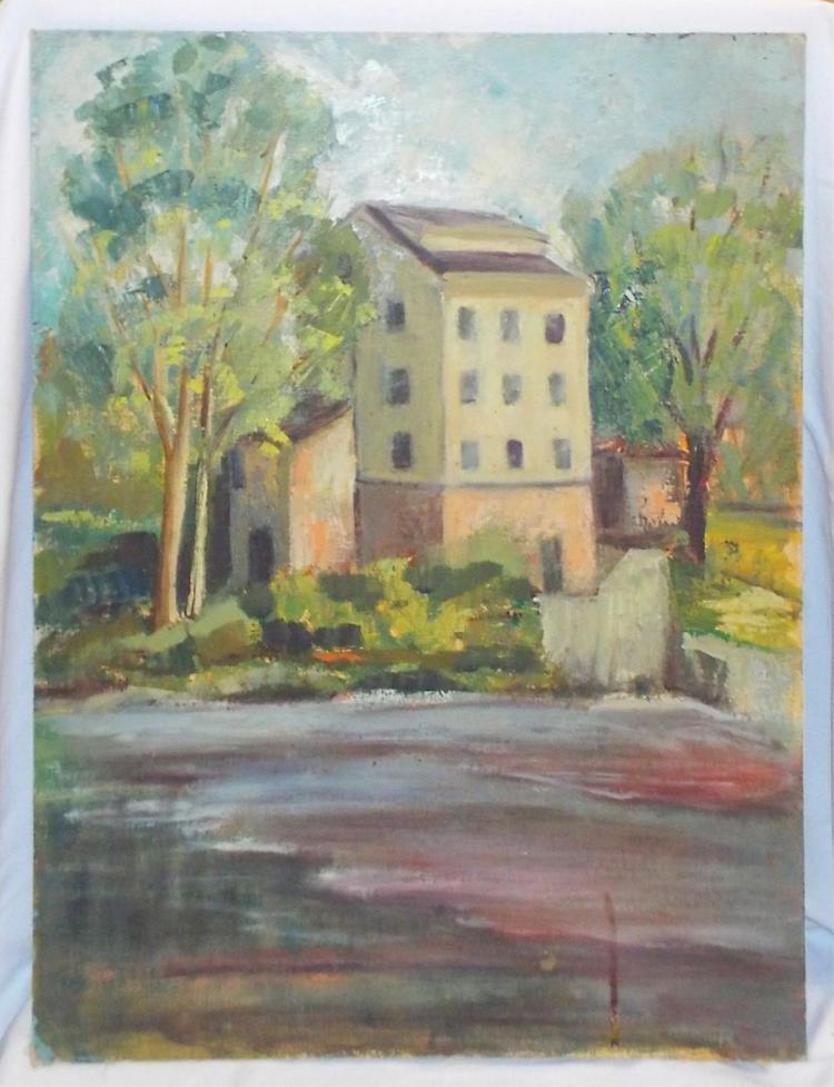 Oil On Board Painting Of House