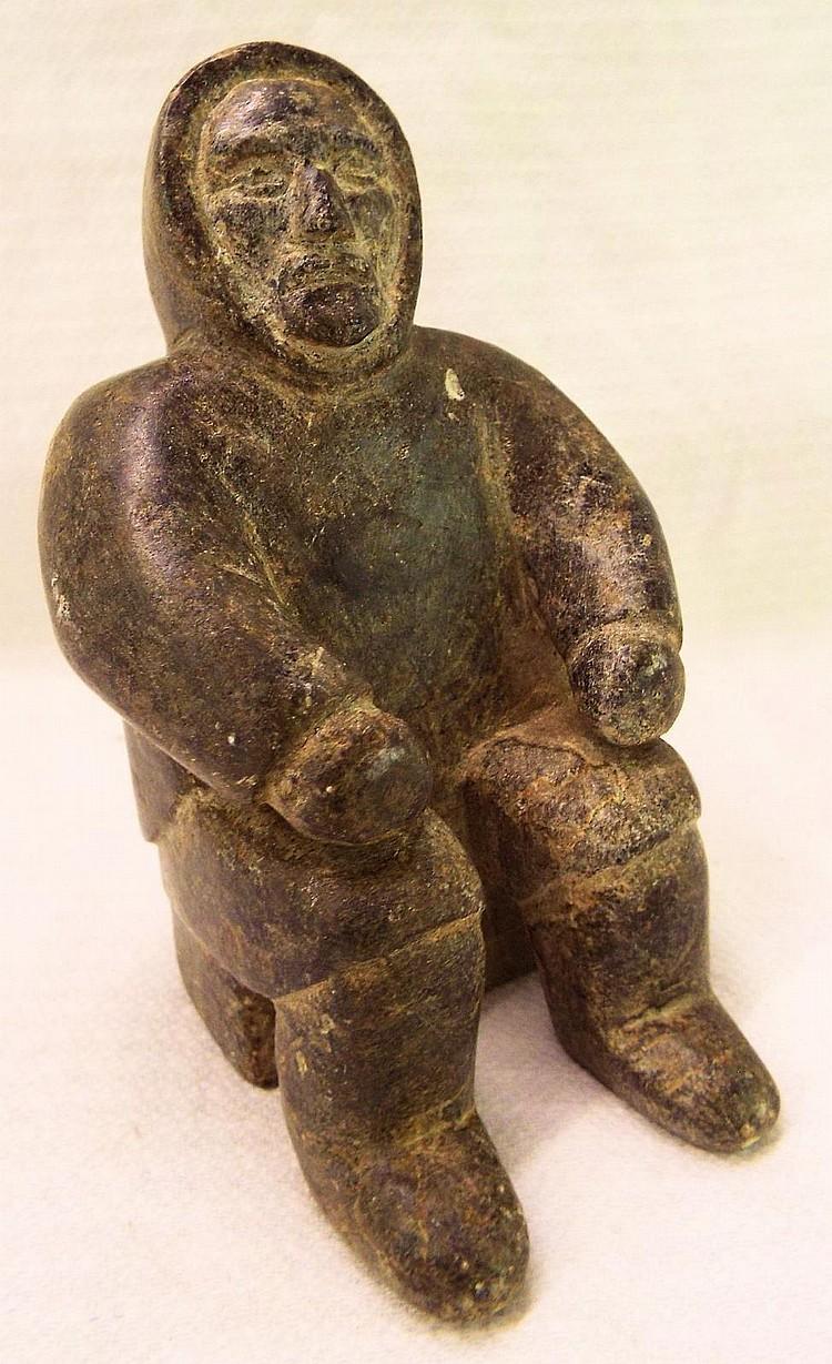 Signed eskimo figural stone carving