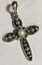 Sterling Silver And Pearl Cross Pendant