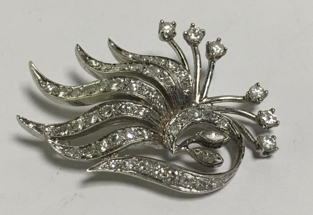 14k White Gold Karbra And Diamond Brooch