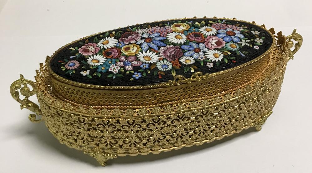 Italian Micro Mosaic Gilt Box
