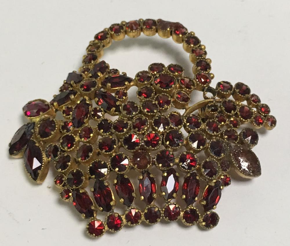 Czechoslovakia Garnet Gold Filled Basket Brooch