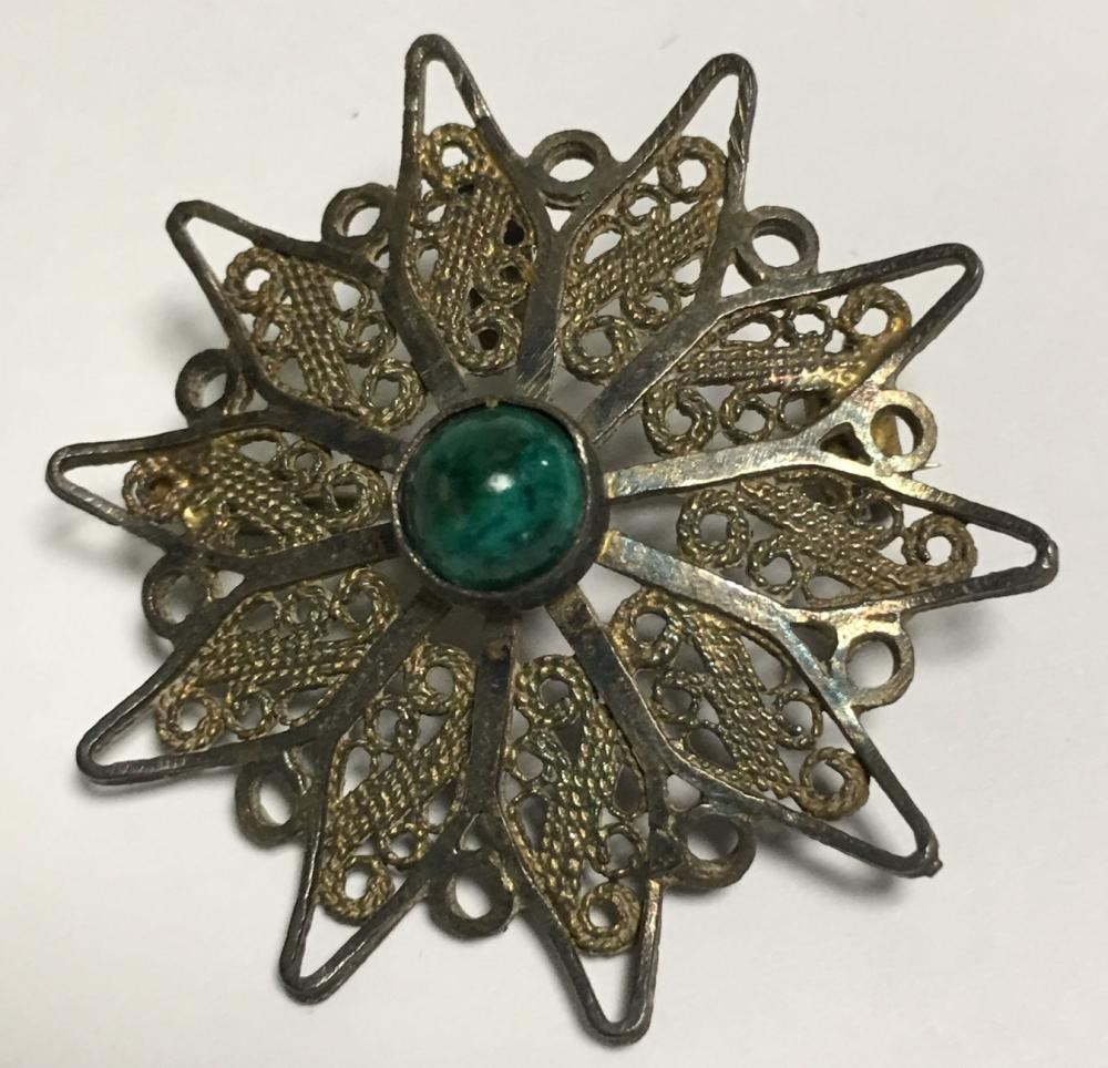 Sterling Silver Filigree Pin With Green Stone