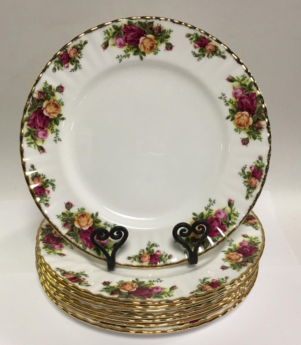 8 Royal Albert Old Country Roses Bone China Plates