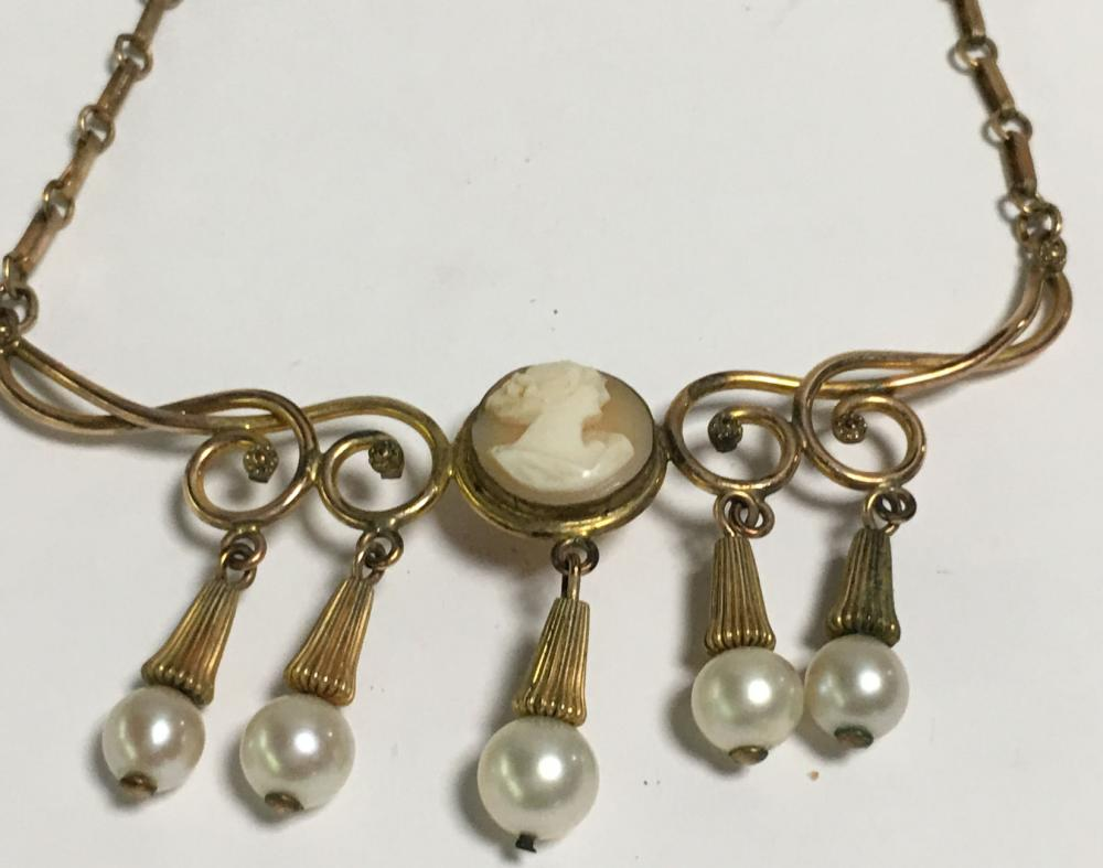 Germany Gold Filled Cameo & Pearl Pendant Necklace