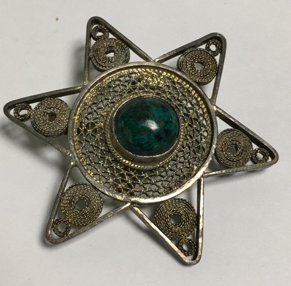 Sterling Silver Filigree Star In With Green Stone