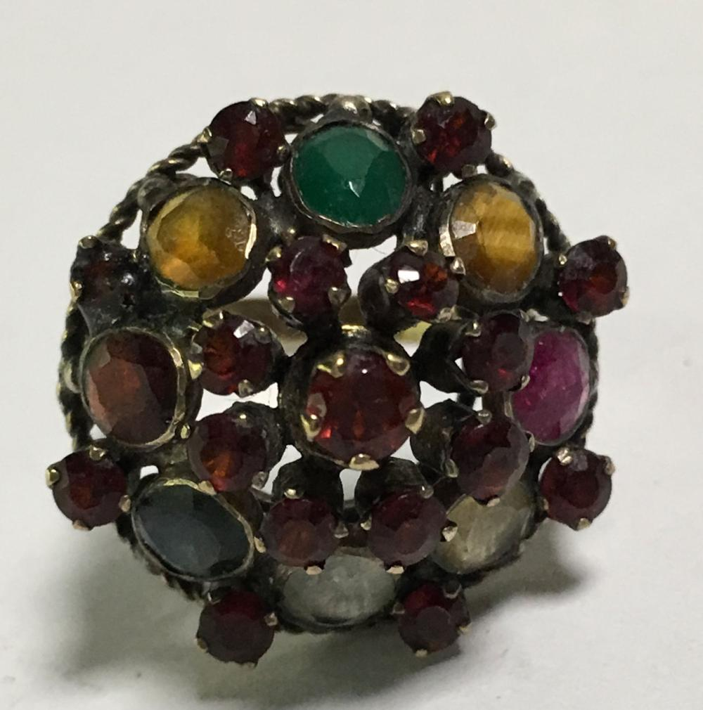 Gold Filled, Garnet & Colored Stone Ring