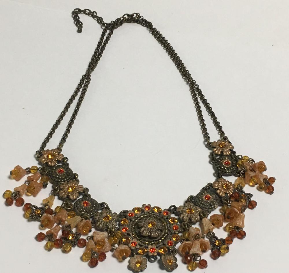 Goldtone Rhinestone Pendant Necklace
