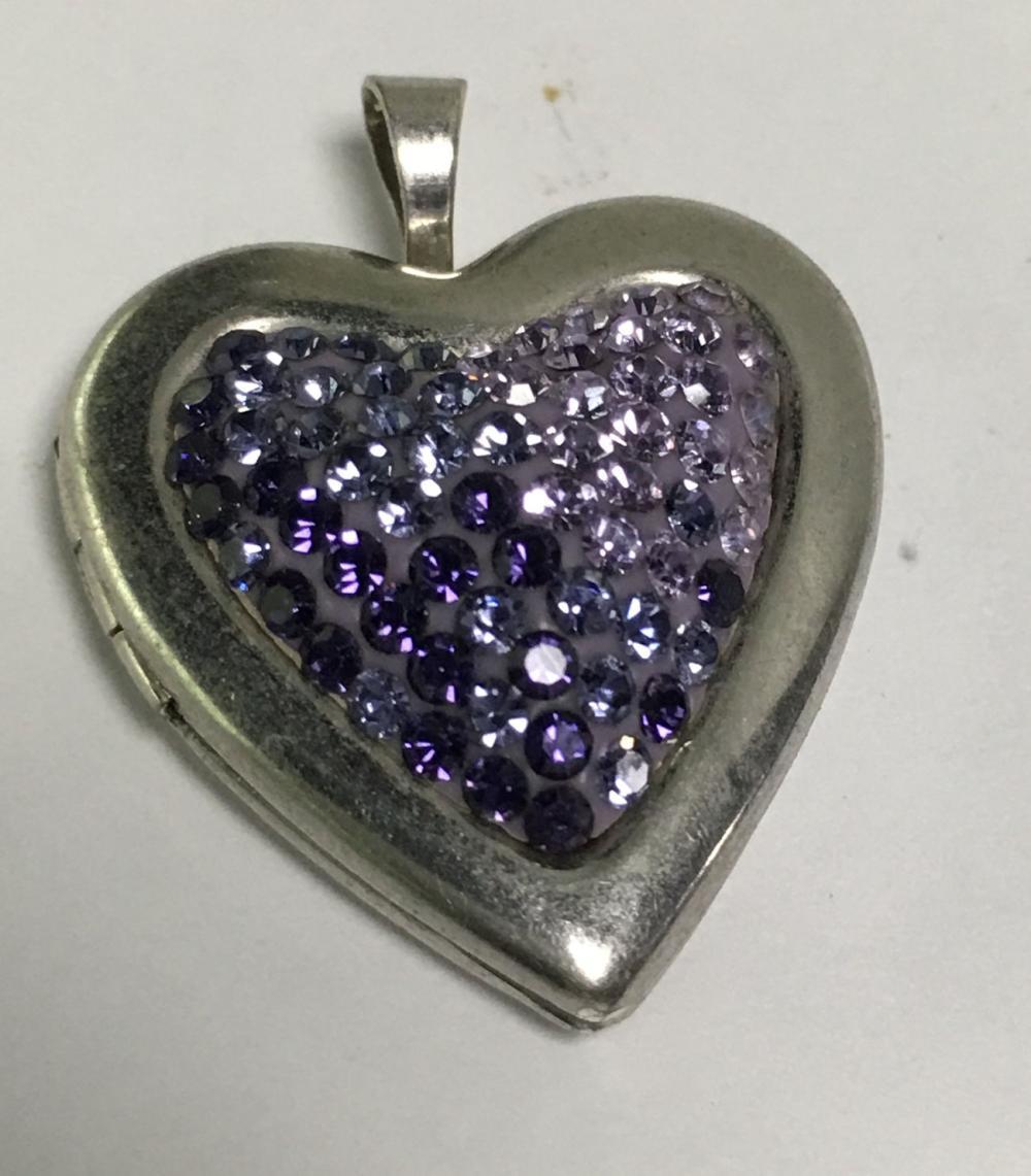 Sterling Silver Purple Heart Locket Pendant