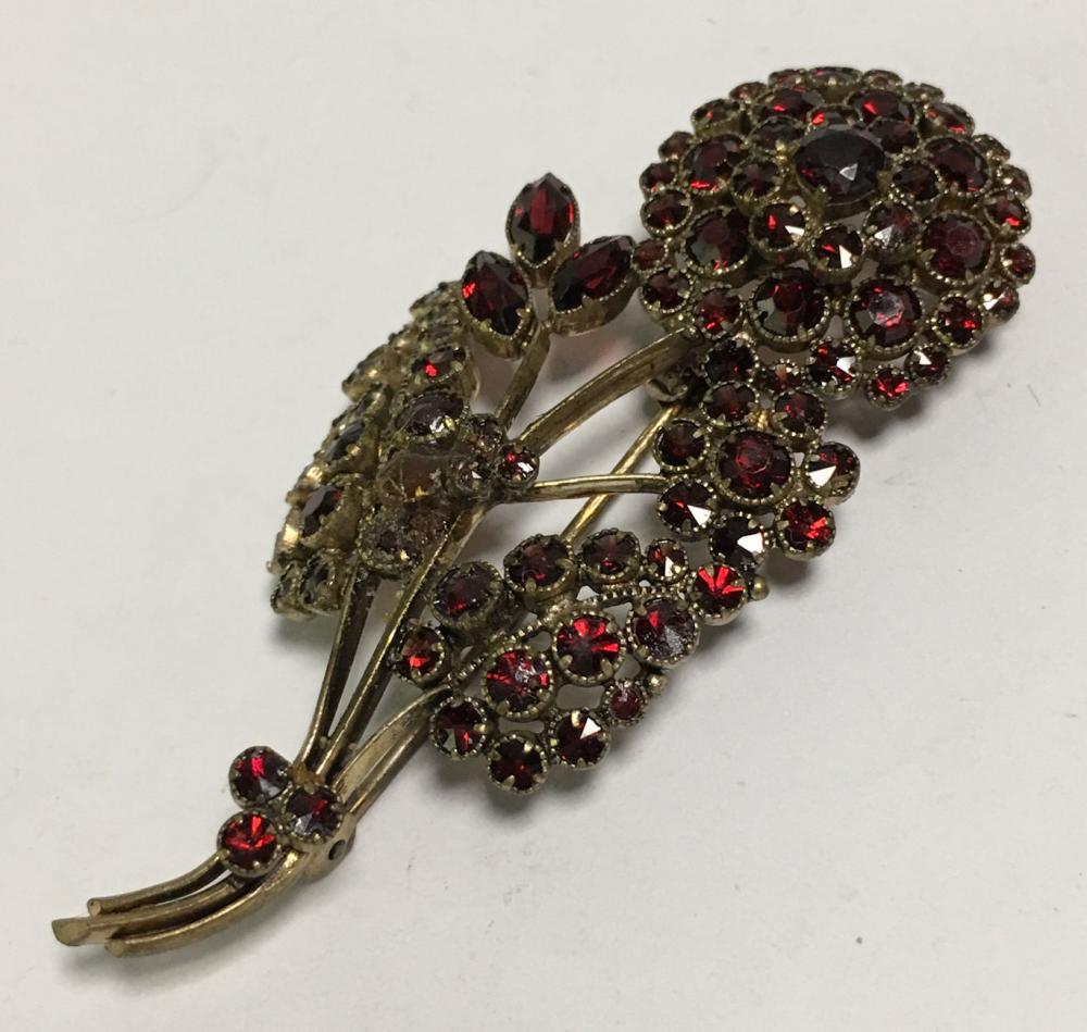 Garnet And Gold Filled Floral Brooch