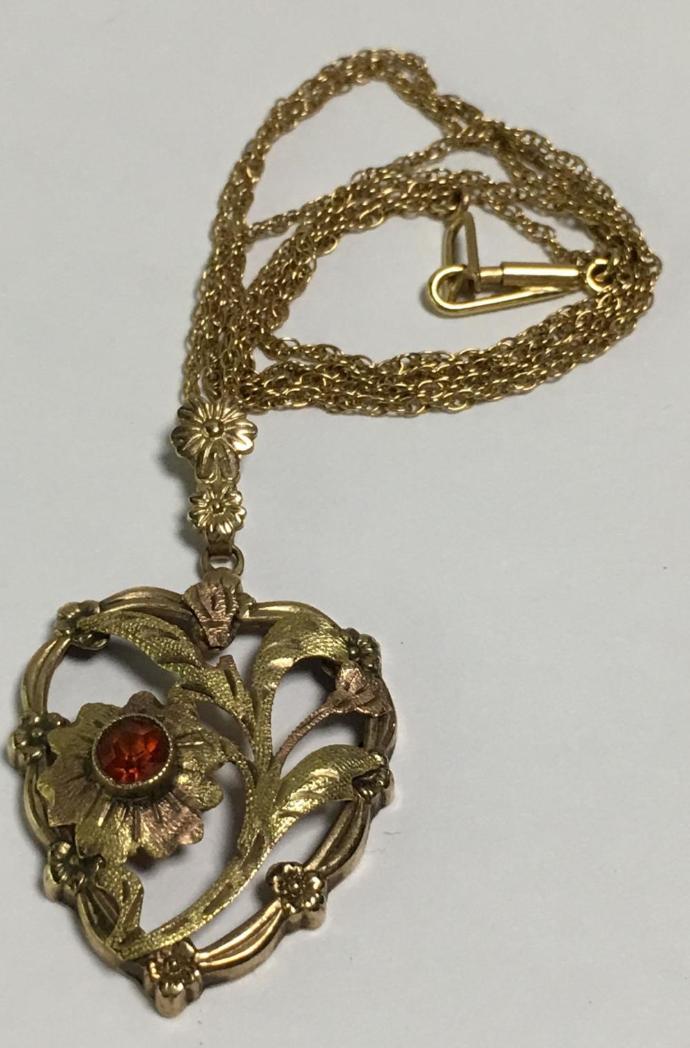 10k Gold Garnet Heart Pendant Necklace