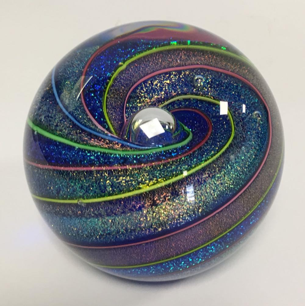 Art Glass Paper Weight Signed Ges 10