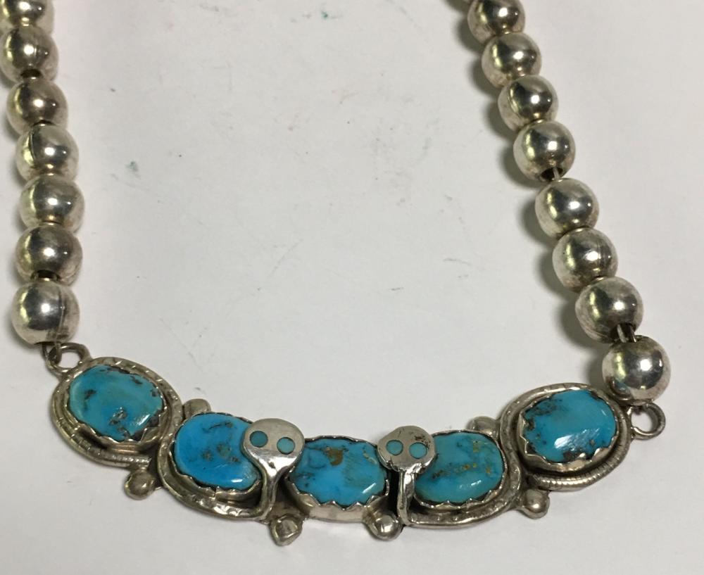 Sterling Silver Zuni Effie C. Snake Necklace