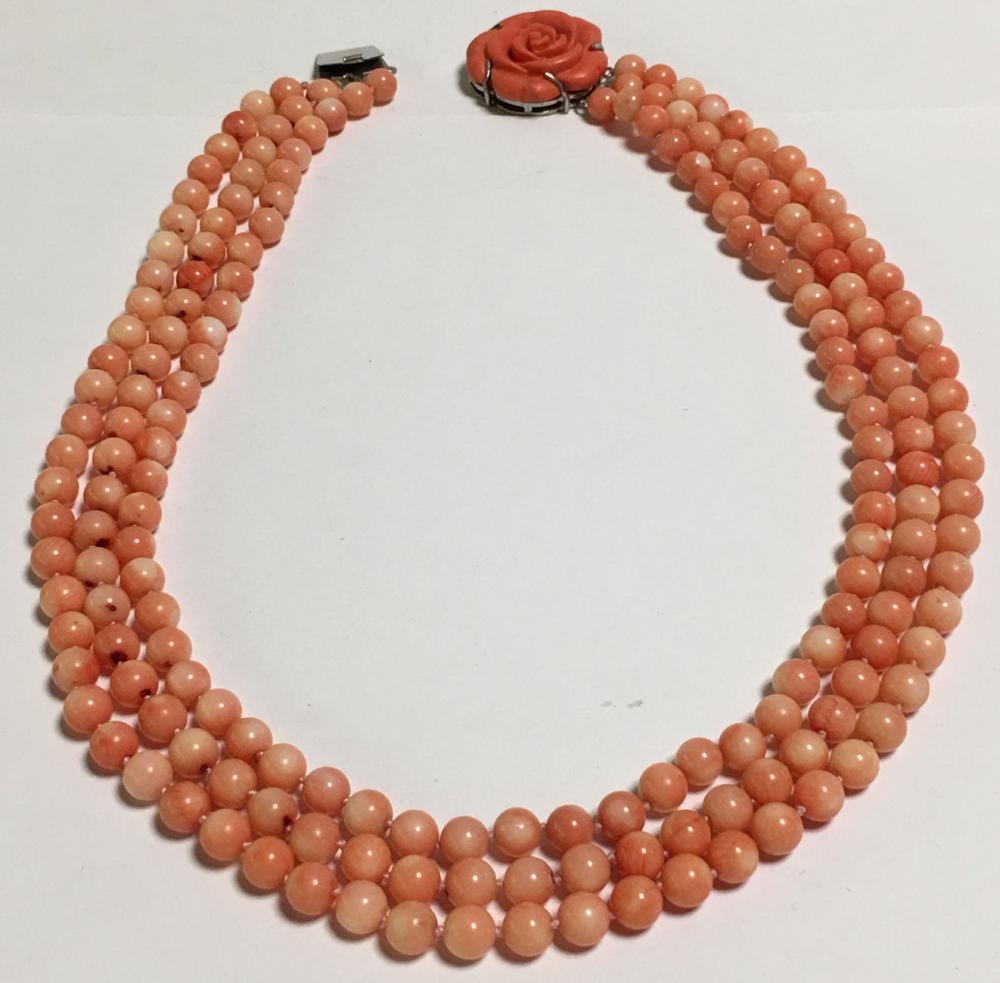 Coral 3 Strand Beaded Necklace With Floral Pendant