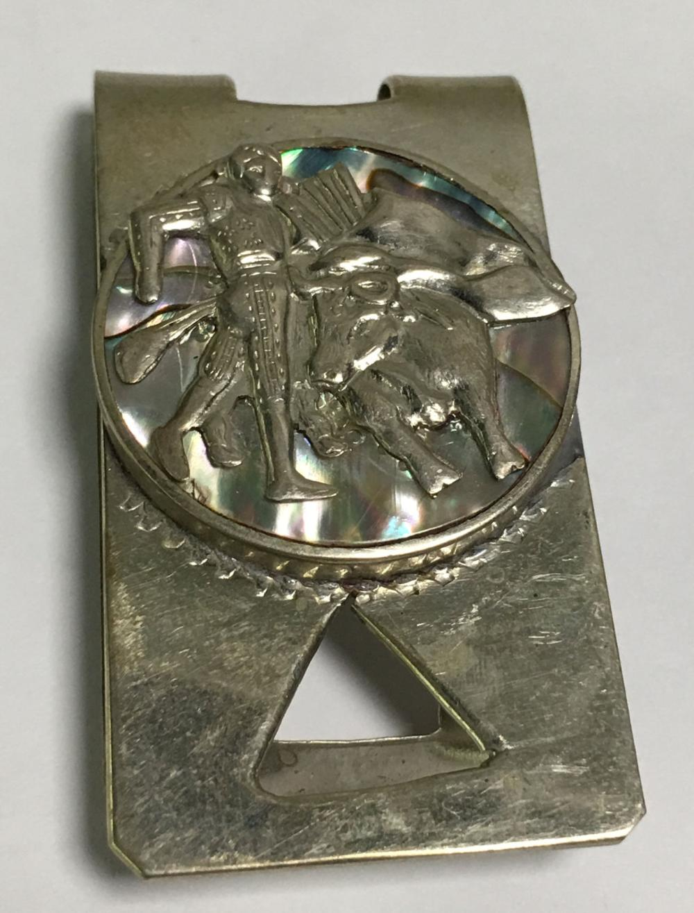 Vintage Sterling Silver Abalone Money Clip