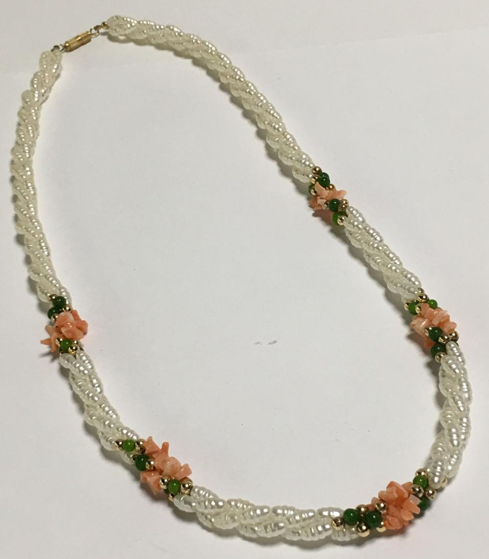 Pearl, Coral & Green Beaded Necklace