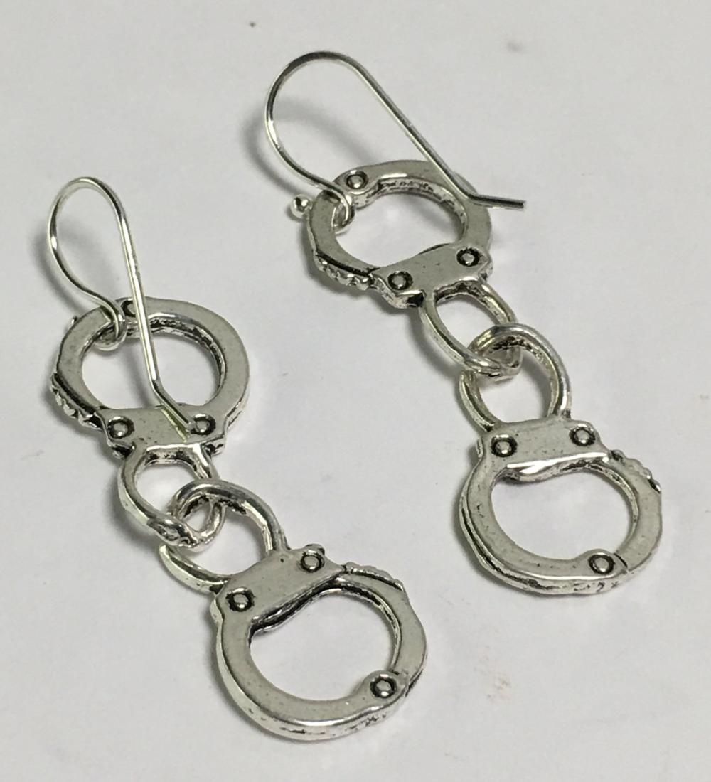 Sterling Silver Handcuff Earrings + Pewter