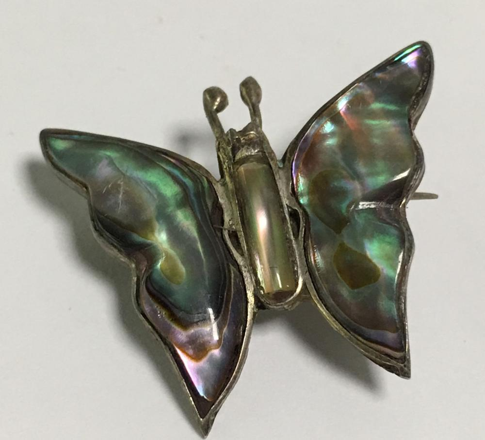 Sterling Silver Mother Of Pearl Butterfly Brooch