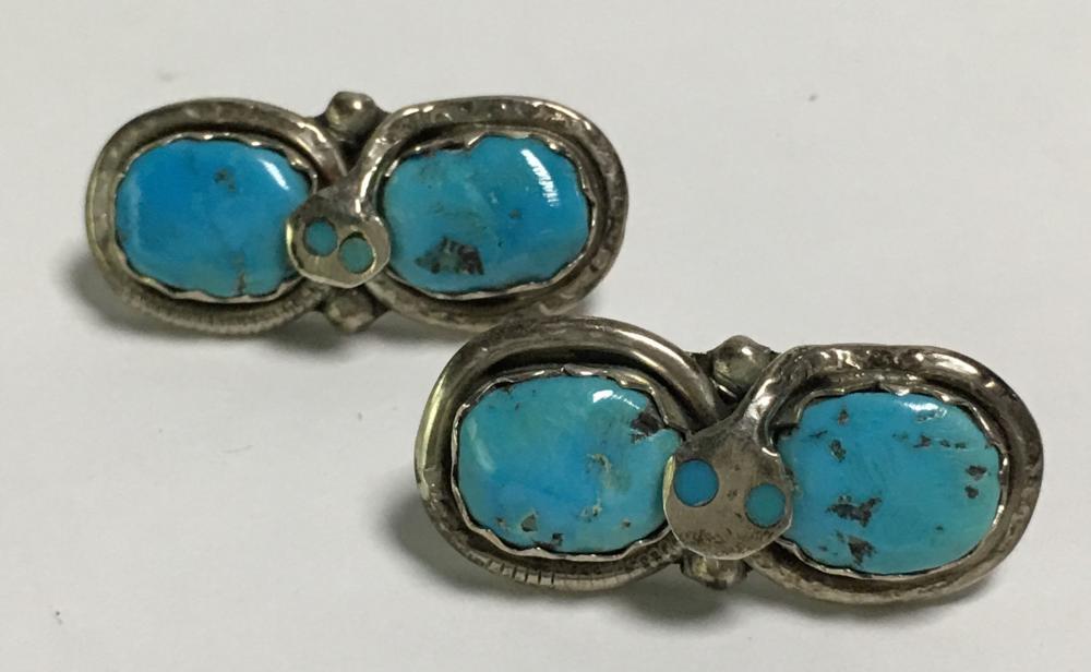 Native American Effie C Sterling Snake Earrings