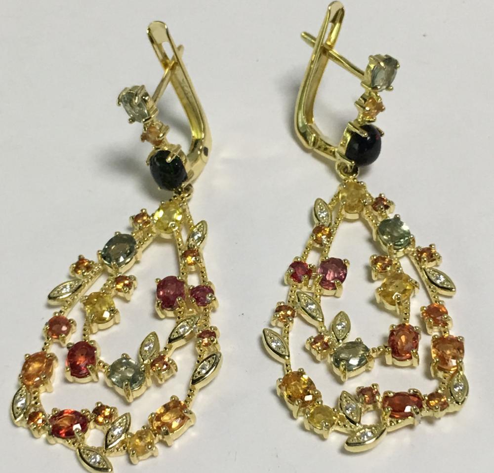 Sterling Silver Sapphire Gold vermeil Earrings
