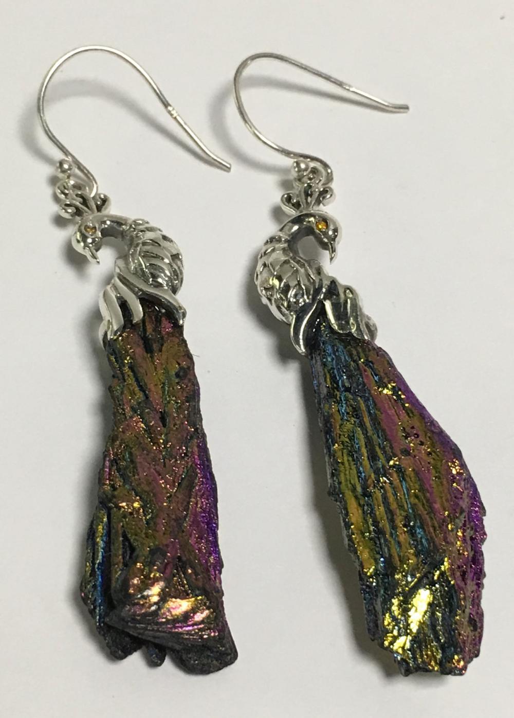 Sterling Silver Peacock Kyanite Earrings