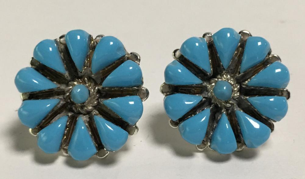 Sterling Silver Zuni petit point Earrings