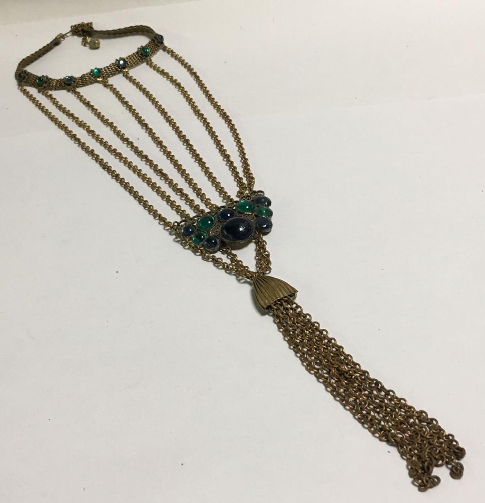 Goldtone Choker Pendant Necklace