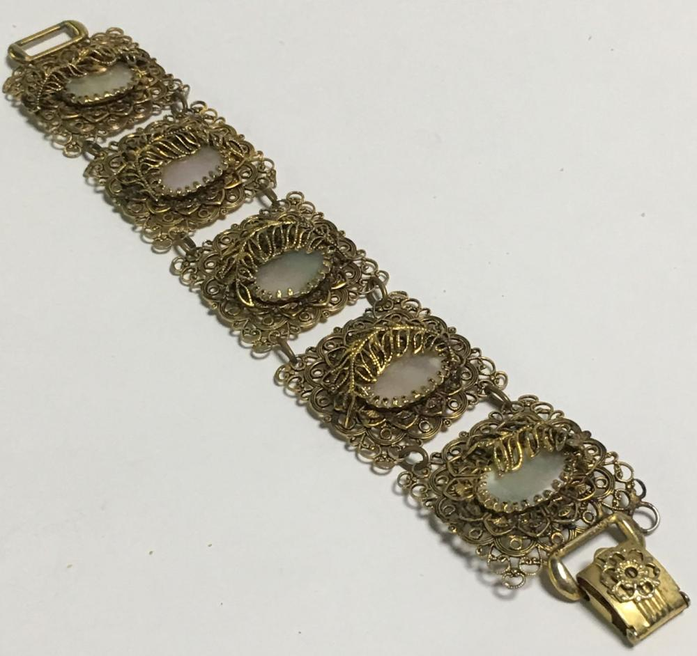 Gold Filled Filigree And Mother Of Pearl Bracelet