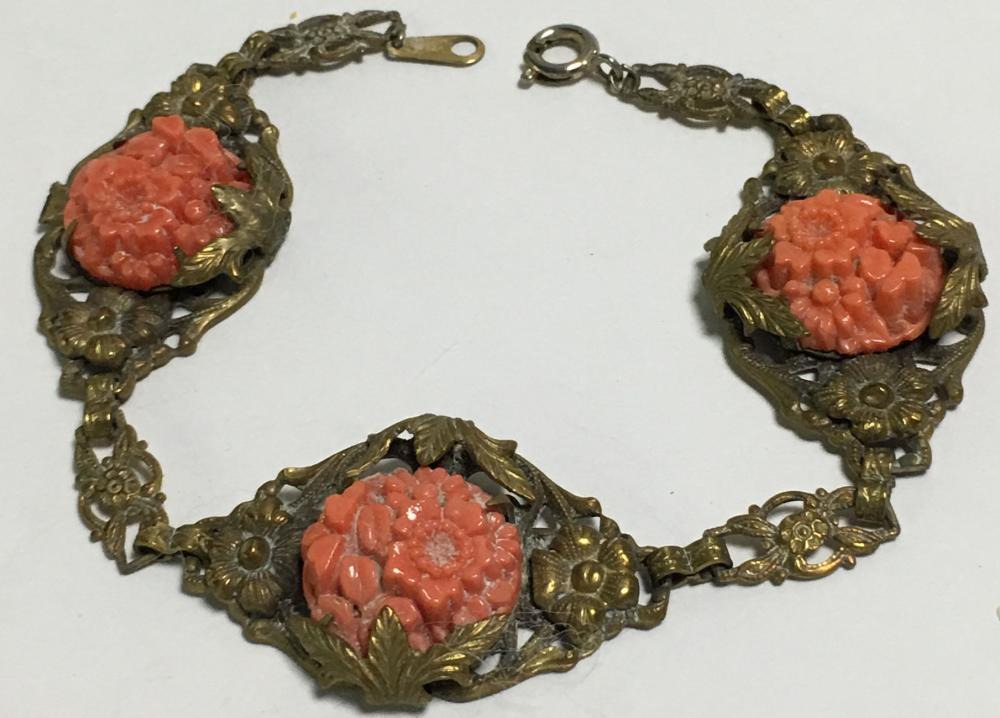 Gold Filled Coral Carved Bracelet