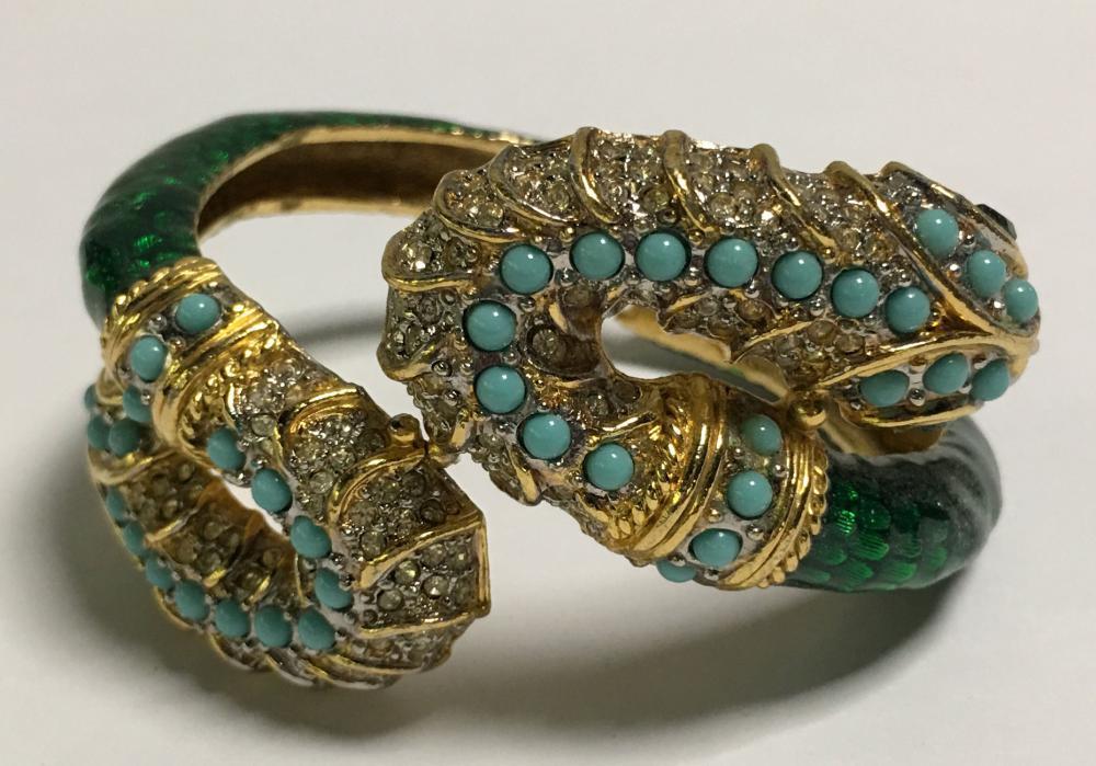 Kenneth Lane Enameled & Rhinestone Snake Bracelet