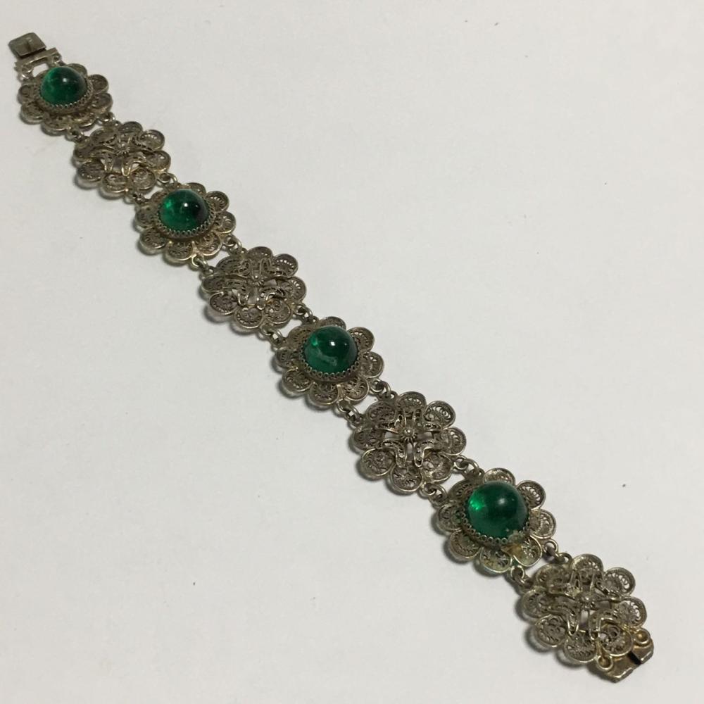800 Silver Filigree Bracelet With Green Stones