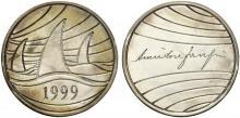 AMINTORE FANFANI. MEDAGLIA 1999 NOMINATIVA CON COFANETTO SIGLATO A.F. METALLO ARGENTATO (26,43 G - 46,6 MM).